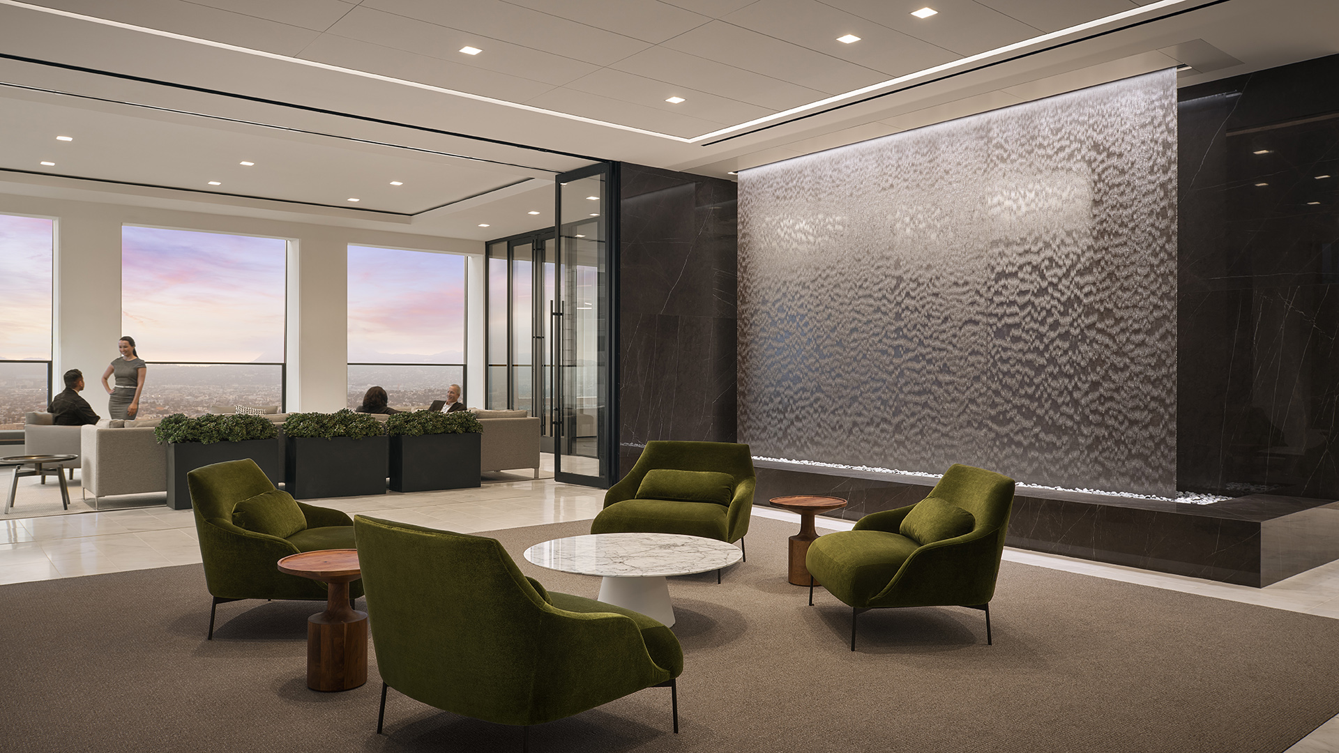 Frameless Water Veil for Downtown Los Angeles Office Lobby